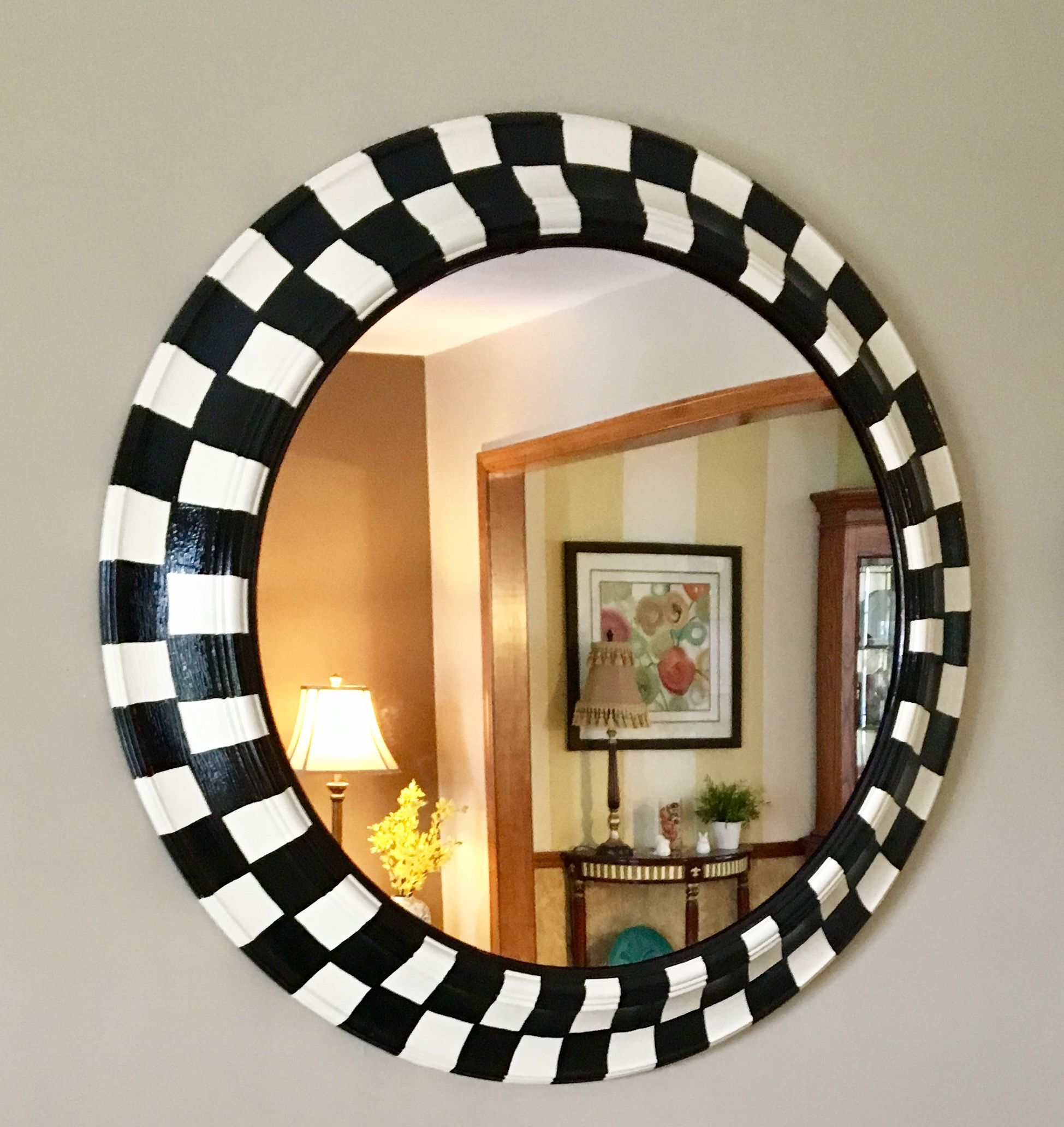 Custom Made Whimsical Painted Round Mirror Black And White Checd 30 Inch