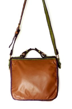 Custom Made Contemporary Carriel / A Classic Leather Handbag In A Whimsical Colorway