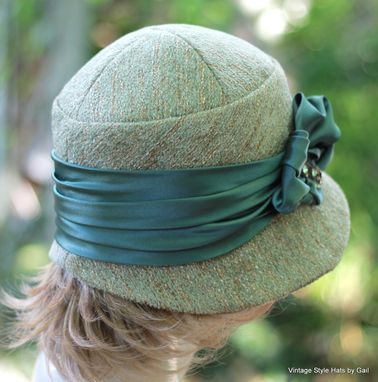 Custom Made Women's Couture Downton Abbey Cloche Hat In Teal Moss Green Tweed