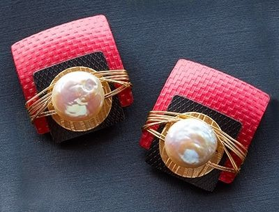 Custom Made Anodized Aluminum And Gold-Fill Earrings With Pearls