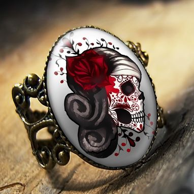 Custom Made Day Of The Dead Muertos Tattoo Skull Antique Bronze Ring 73-Bfr