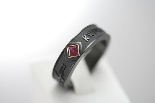 Custom Made Elvish Script Black Zirconium &Amp; Chatham Ruby Ring