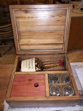 Custom Made Hand Dovetailed, Antique Pine, Whiskey Bottle Box