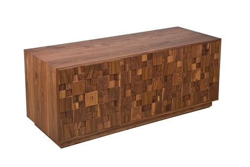 Custom Made Walnut Squares Media Cabinet