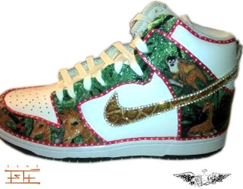 Custom Made Custom (Safari) Giraffe And Monkey With A Pink Bow Nike Dunks