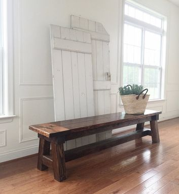Custom Made Rustic Farmhouse Bench -- Solid Wood, Handmade