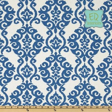 Custom Made 96l X 50w Custom Designer Draperies Waverly Luminary Indigo Blue Damask