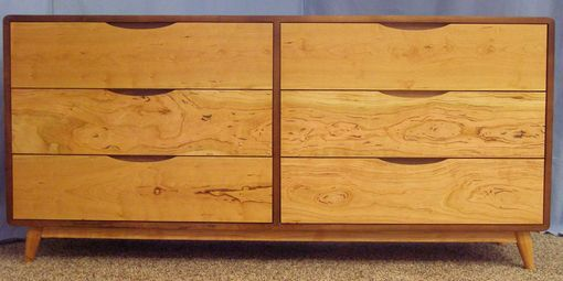 Custom Made Danish Modern 6 Drawer Dresser Built With Sappy Walnut And Gummy Cherry (Item #6d822)