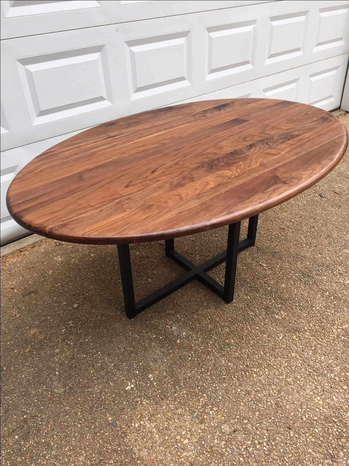 Buy A Custom Mid Century Dining Table Oval Table Metal Base Made