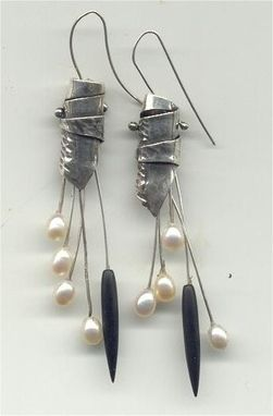 Custom Made Unique Sterling, Pearl, Matte Onyx Earrings