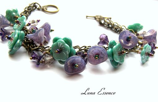 Custom Made Lavender Bracelet Flower Aqua Charm