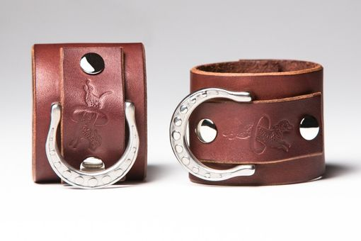 Custom Made Chestnut Leather Bondage Cuffs - Steel Rings