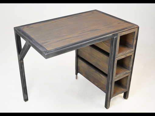 Custom Made Custom Industrial Contemporary Metal Oak Wood Desk
