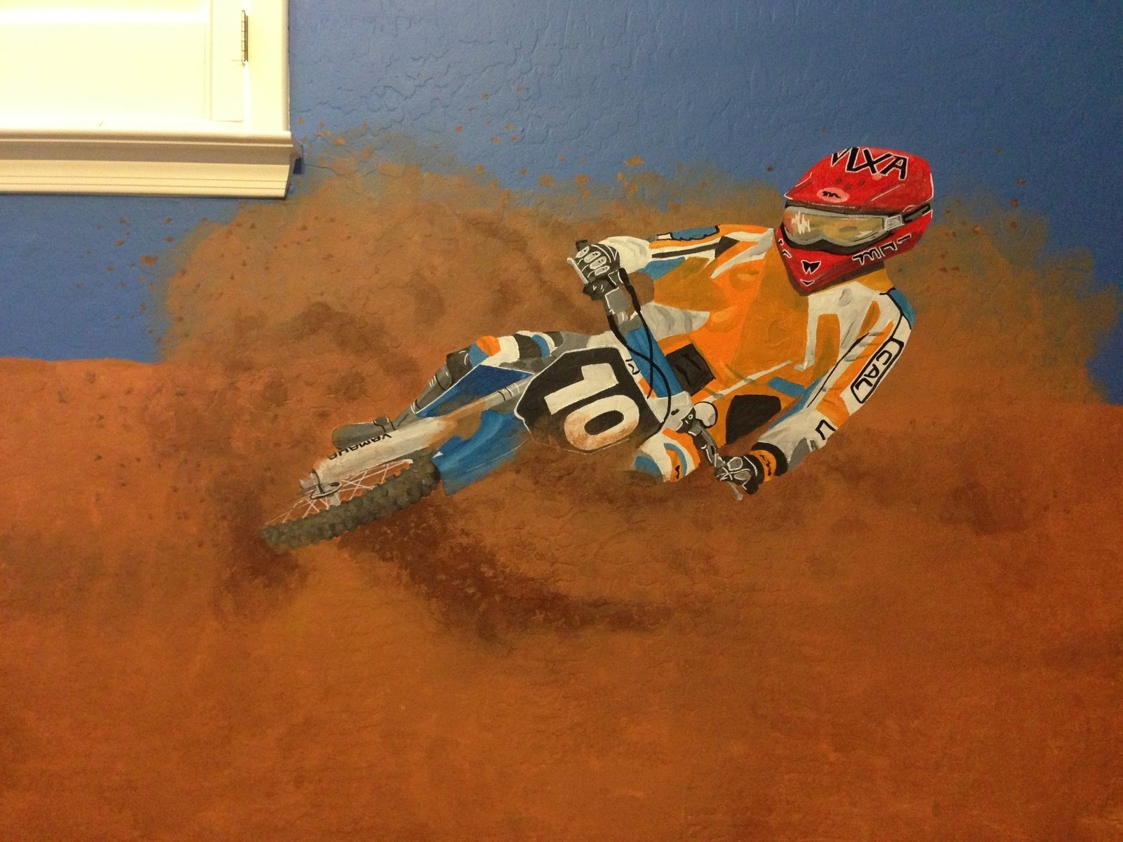 handmade dirtbike room mural by kid murals by dana custommade com custom made dirtbike room mural