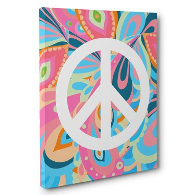 Custom Made Colorful Peace Sign Home Decor Canvas Wall Art