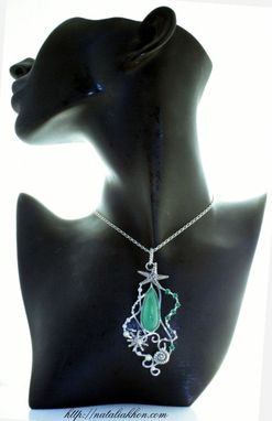 Custom Made Nautical Sterling Silver Pendant With Chrysoprase