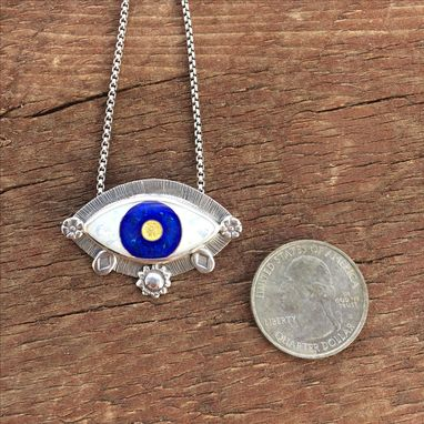 Custom Made Cloisonne Enamel Evil Eye Pendant, Green Enamel Evil Eye Necklace, Enamel Evil Eye Necklace.