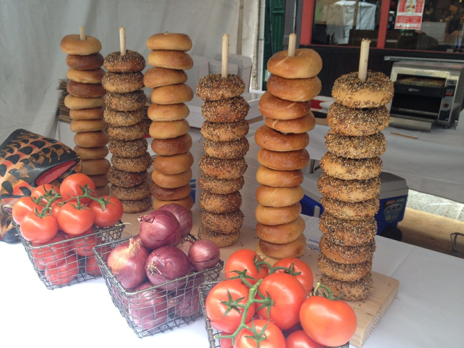 Hand Crafted Bagel Pretzel Stand By M Karl Llc
