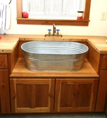 Custom Made Rustic Laundry Sink And Cabinet