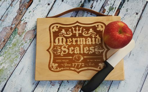 Custom Made Mermaid Engraved Maple Bread Board / Cutting Board