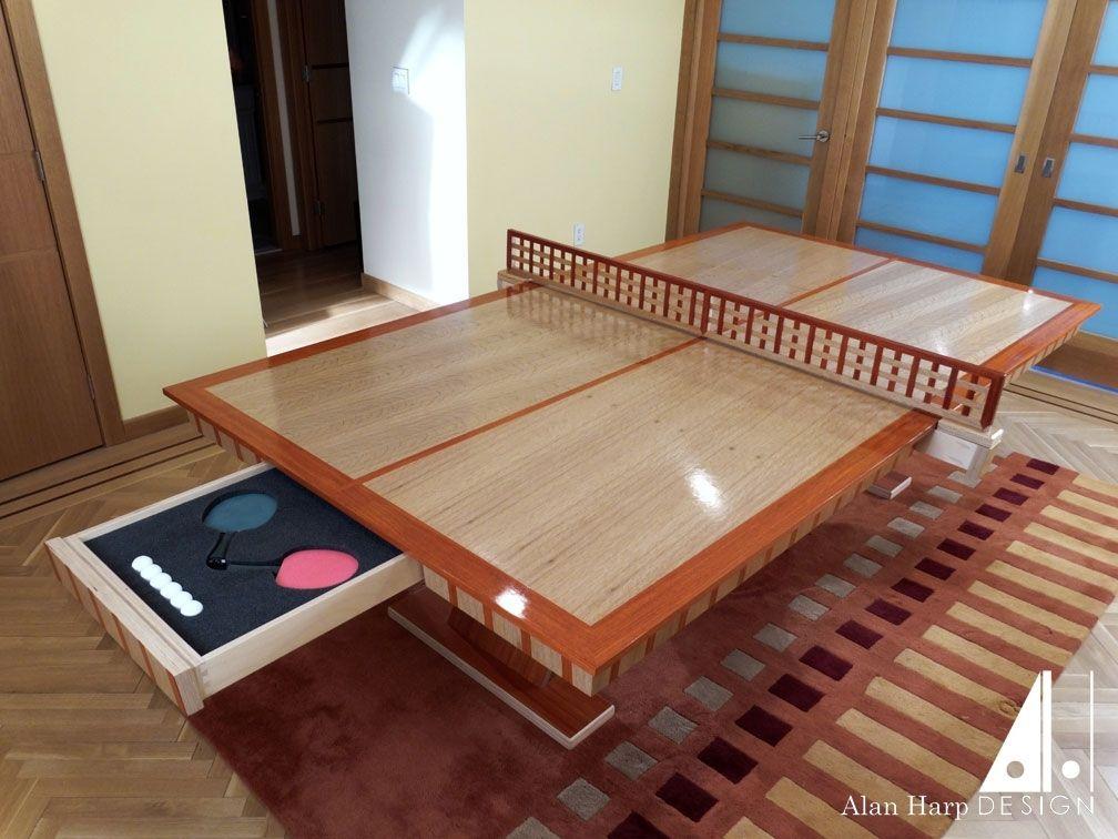 Custom Made Oak And Padauk Ping Pong Table By Alan Harp Design