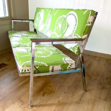 Custom Made Sofa Bench Or Waiting Room Couch In Retro Dandelion Green