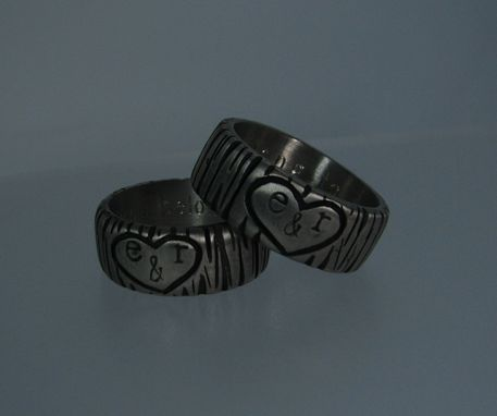 Custom Made Matching Wedding Bands Set (Tree Heart Design)