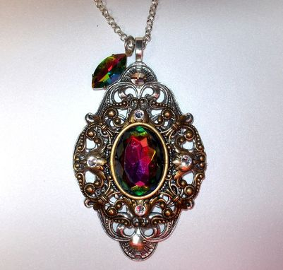 Custom Made Large Austrian Crystal Brass Filigree Pendant
