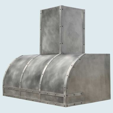 Custom Made Pewter Range Hood With Pewter Straps