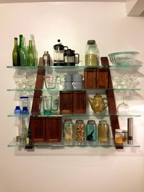 Custom Made Kitchen Shelving In Walnut And Antique Glass