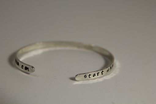 Custom Made Silver Cuff Bracelet With Hammered Edge And Hand Stamped Custom Message