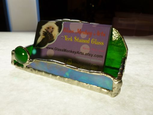 Custom Made Radiant Green Stained Glass Business Card Holder
