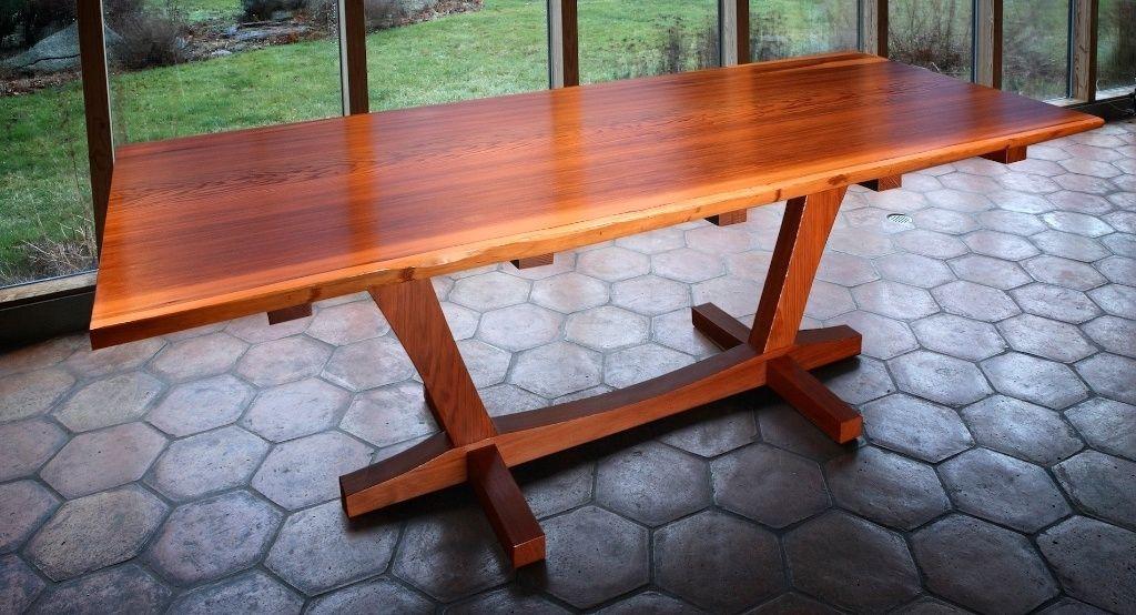 handmade salvaged redwood slab dining tablethomas lutz design