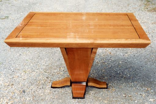 Custom Made Dining Table In Cherry With Ebonized Trim & Inlay.