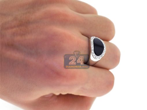 Custom Made 18k White Gold 0.43 Ct Diamond Oval Onyx Mens Ring