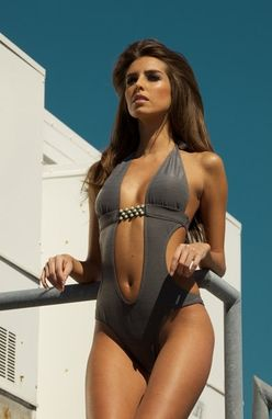 Custom Made Dubay Grey Trikini- Hand Made Monokini- One Piece Swimsuit