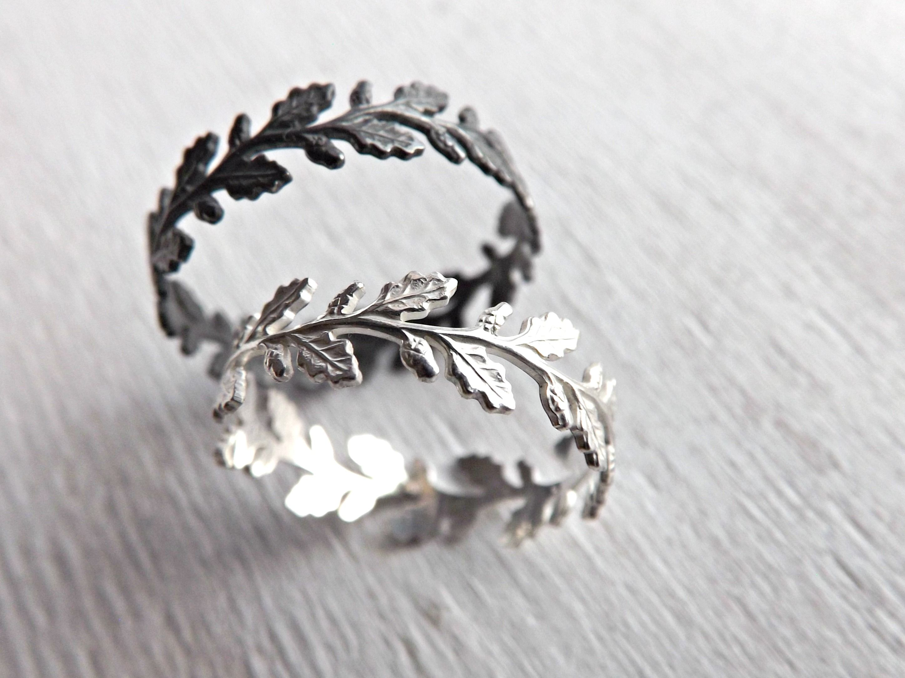 Buy a Hand Made Oak Leaf Ring Silver, Silver Eternity Ring, made ...