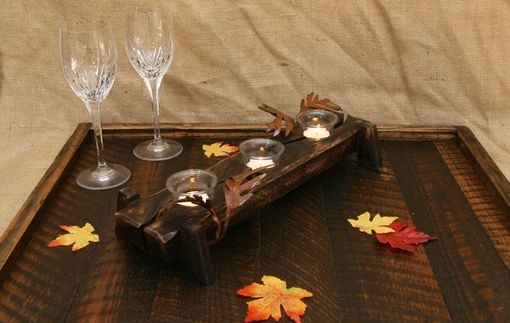 Custom Made Modern Rustic Decor Table Centerpiece Tealight Votive Candle Holder With Metal Leaves