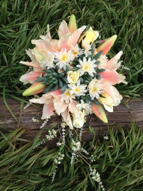 Custom Made Stunning Cascading Bride's Bouquet - Blush Tiger Lilies And Peach Hydrangeas With Green Succulents