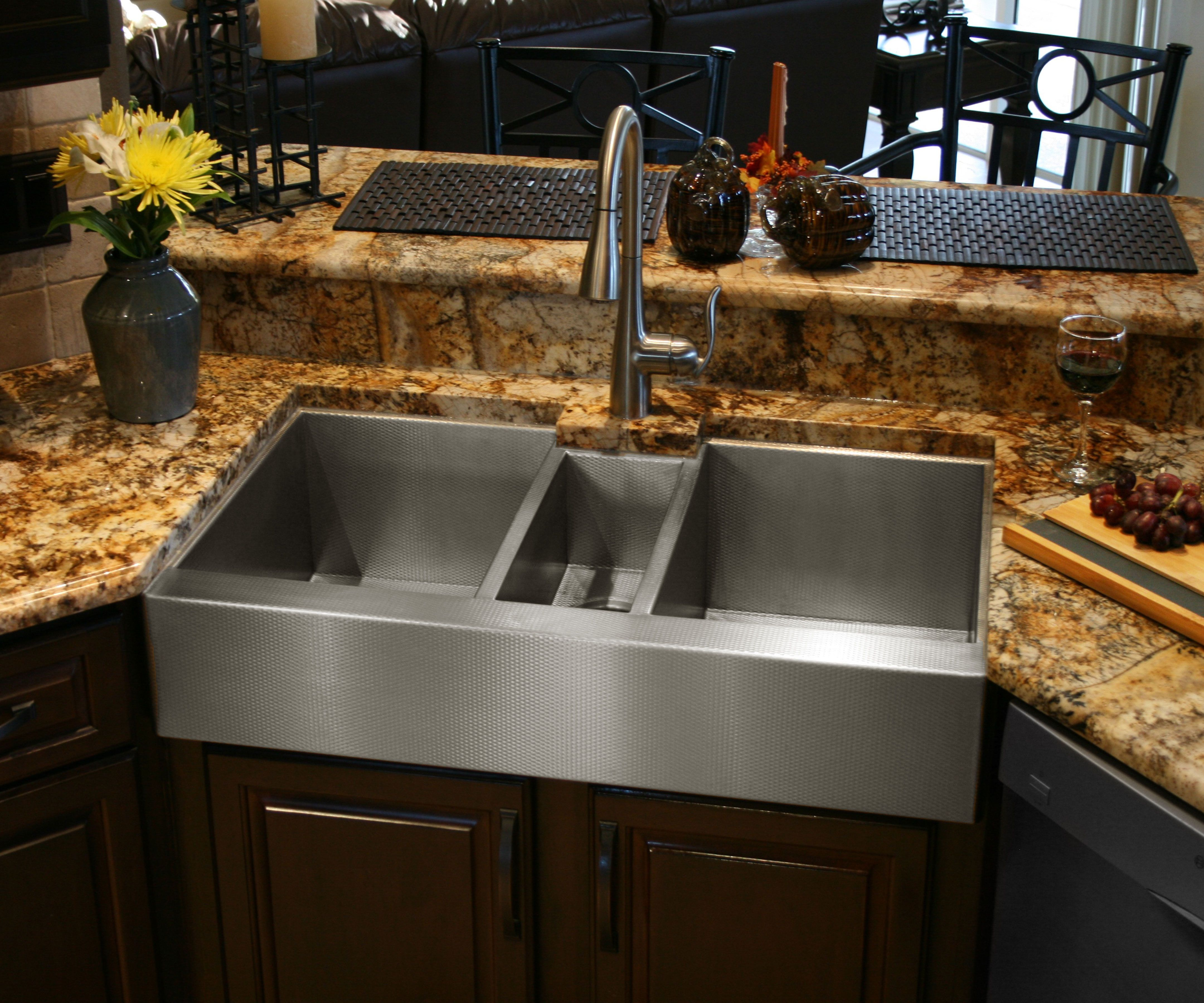 Custom Made Stainless Steel Triple Bowl Sink