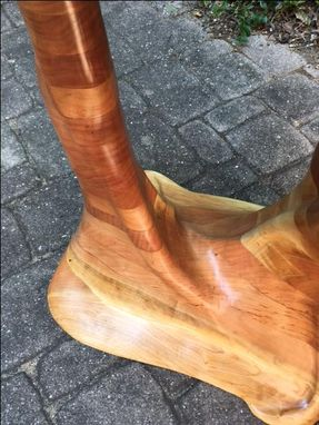 Custom Made Live Edge Sculpted Cherry Side Table. 1013