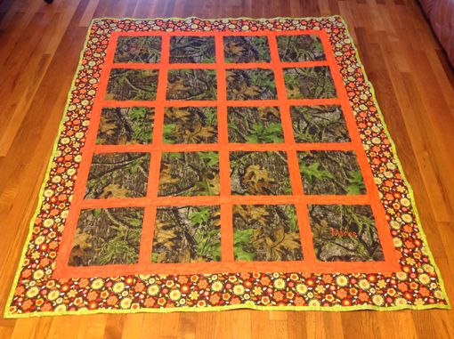 Custom Made Custom Camo Outdoor Window Pane Style Scenic Quilt