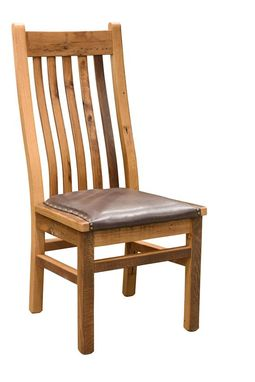 Custom Made Reclaimed Wood Mission Chair With Leather Seat