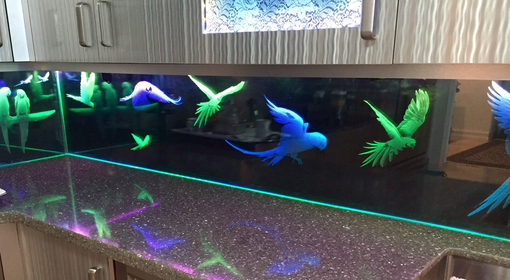 Custom Made 'Parrots' Theme Custom Etched Glass & Led Backsplash