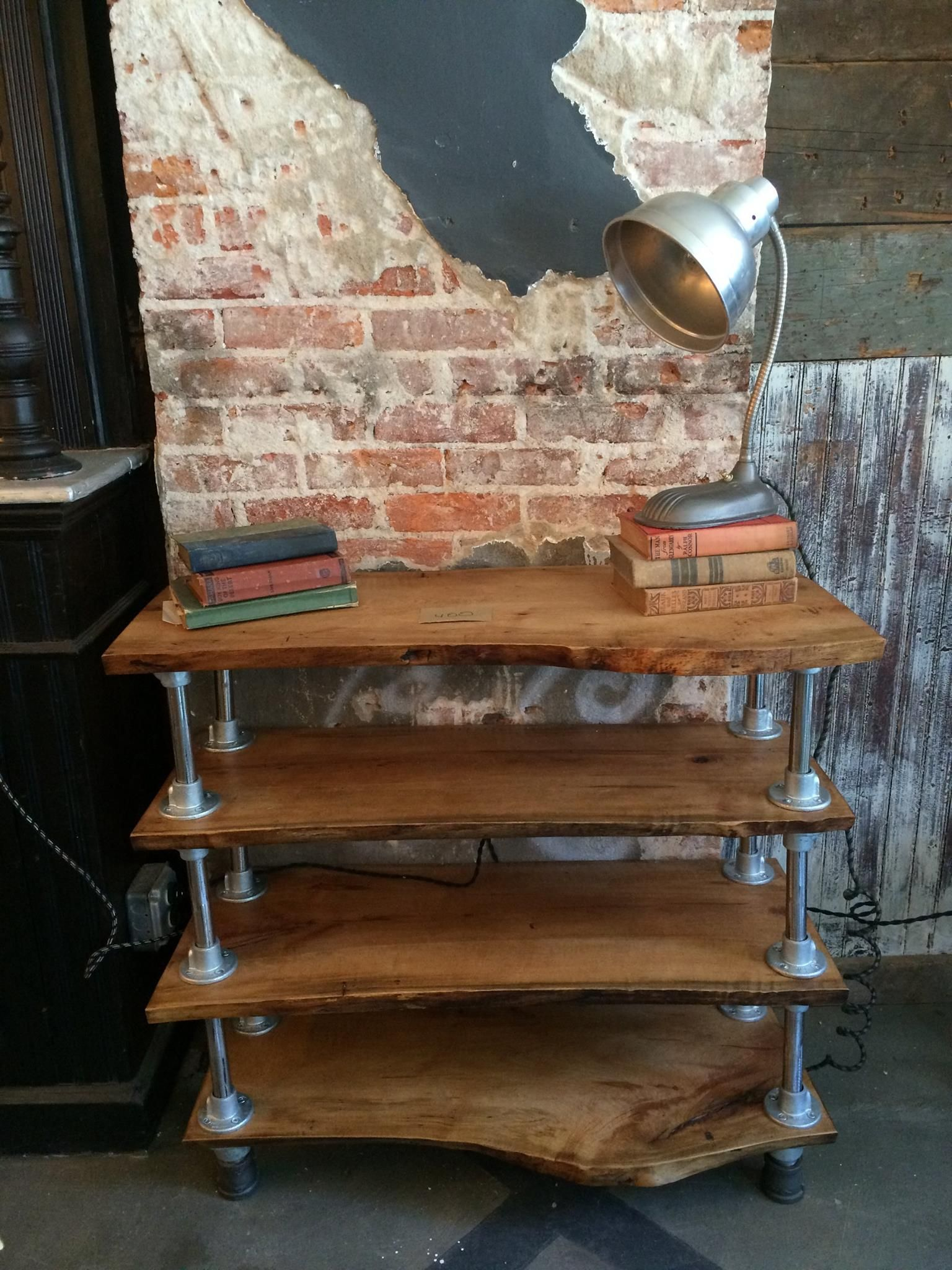 Hand Made Reclaimed Live Edge Bookcase With Piping By Funk