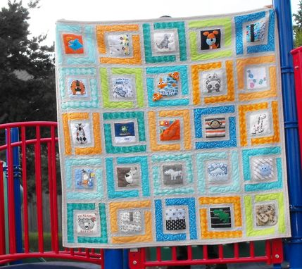 "Custom Made Baby Clothes (T-Shirt) Memory Quilt - X-Large Size Approx 60"" X 60"" (25 Squares) -"