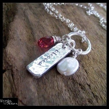 Custom Made Hand Stamped Hammered Tag & Charm Necklace Double Side