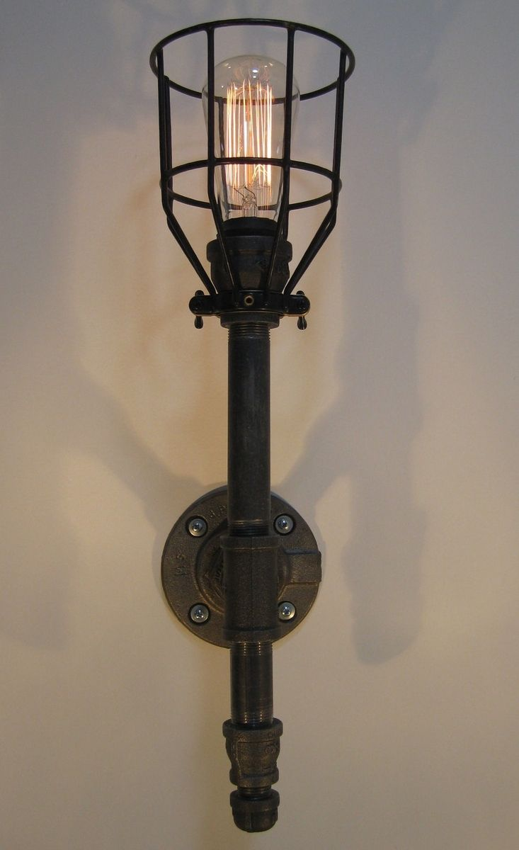 Custom Made Wall Sconce Black Malleable Iron