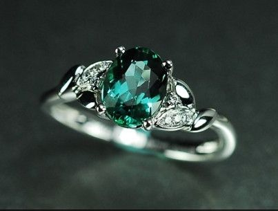 green three engagement ring stone diamond rings tourmaline