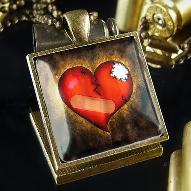 Custom Made Bandaged Emo Broken Heart Antique Bronze Pendant Necklace 135-Bsn